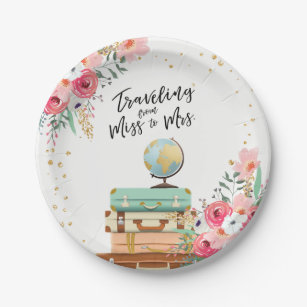 miss to mrs travel bridal shower paper plates