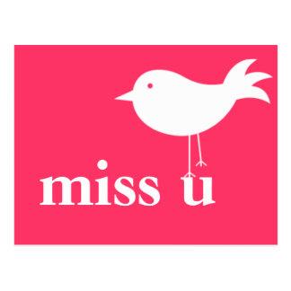 Miss U with Bird Postcard