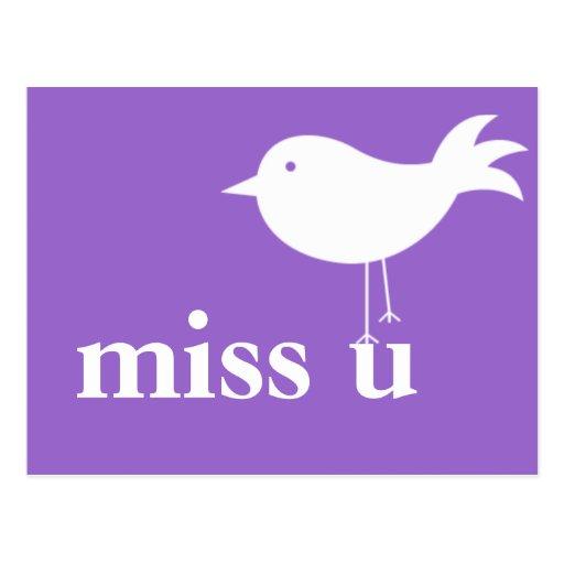 """Miss U"" with Bird Postcard"