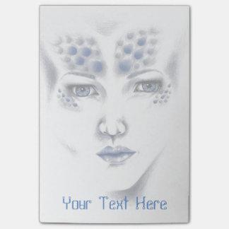 Miss Universe Alien Lady Original Art Sticky Notes