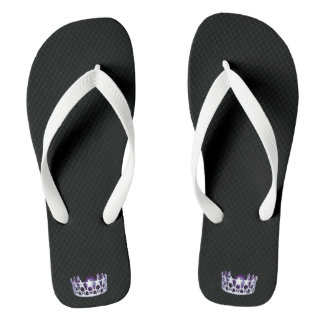 Miss USA Adult Silver Crown White Flip Flops