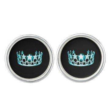 USA Themed Miss USA America Aqua Crown Round Cuff Links