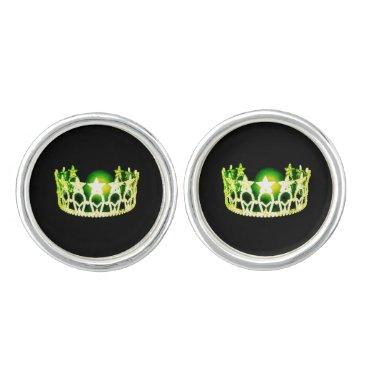 USA Themed Miss USA America Lemon Lime Crown Round Cuff Links