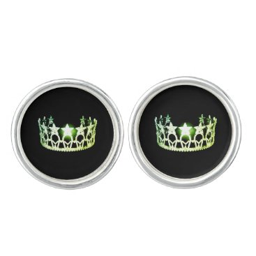 USA Themed Miss USA America Lime Green Crown Round Cuff Links