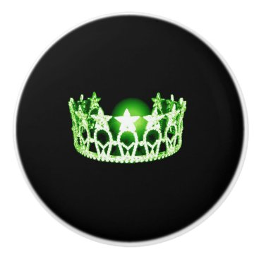 USA Themed Miss USA Apple Green Crown Ceramic Cabinet Knob