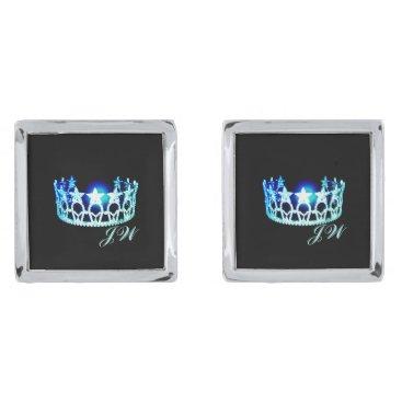 USA Themed Miss USA Aqua Blue Crown Cuff Links-w/Monogram Silver Cufflinks
