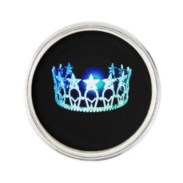 USA Themed Miss USA Aqua Blue Crown Lapel Pin