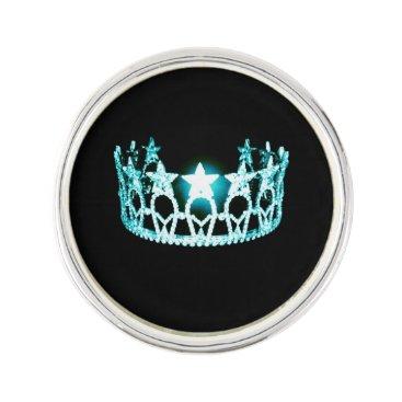 USA Themed Miss USA Aqua Crown Lapel Pin