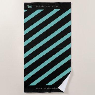 USA Themed Miss USA Aqua Stripe Teal Crown Beach Towel