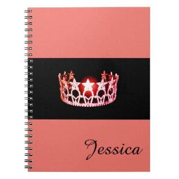 USA Themed Miss USA Coral Crown Notebook- Custom Name Notebook