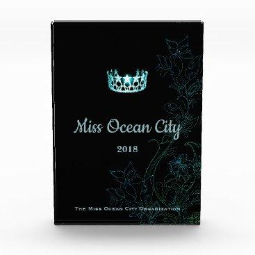 Hawaiian Themed Miss USA Floral Aqua Crown Acrylic Award