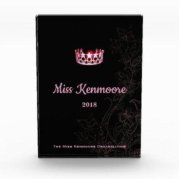 Hawaiian Themed Miss USA Floral Pink Crown Acrylic Award