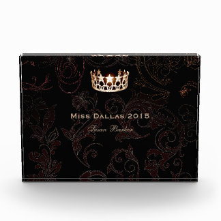 Miss USA Flourish Gold Crown Acrylic Award