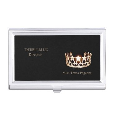 USA Themed Miss USA Gold Crown Business Card Holder