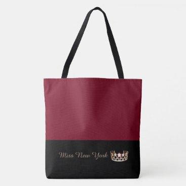 USA Themed Miss USA Gold Crown Tote Bag-LRGE Crimson