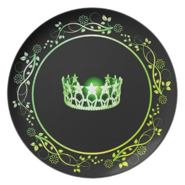 USA Themed Miss USA Green Crown Plate with Floral Border