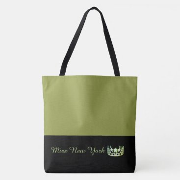 USA Themed Miss USA Green Crown Tote Bag-LRGE Olive