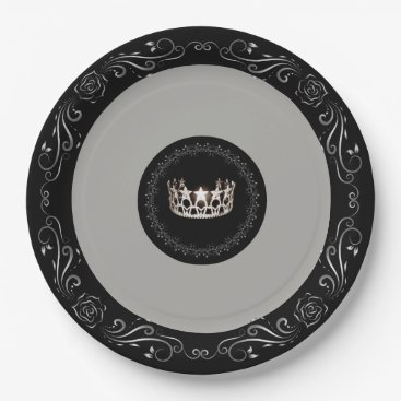 """USA Themed Miss USA Grey Silver Crown 9"""" Paper Plates"""
