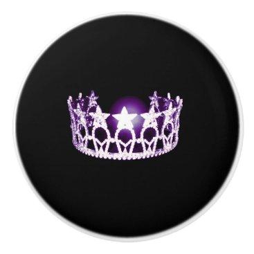 USA Themed Miss USA Lilac Crown Ceramic Cabinet Knob