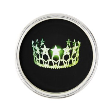 USA Themed Miss USA Lime Green Crown Lapel Pin