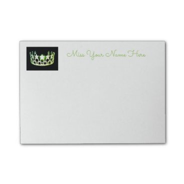 USA Themed Miss USA Lime Green Crown Post-it-Notes Post-it Notes