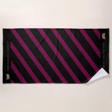 USA Themed Miss USA Merlot Wine Stripe Crown Beach Towel