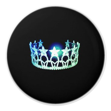 USA Themed Miss USA Mint Crown Ceramic Cabinet Knob
