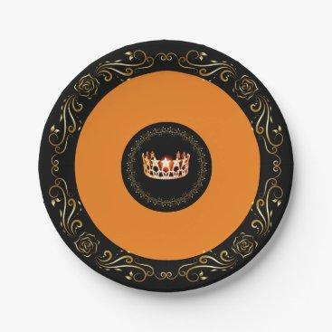"USA Themed Miss USA Orange Crown 7"" Paper Plates"