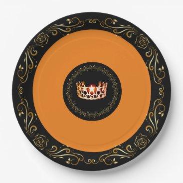 "USA Themed Miss USA Orange Crown 9"" Paper Plates"