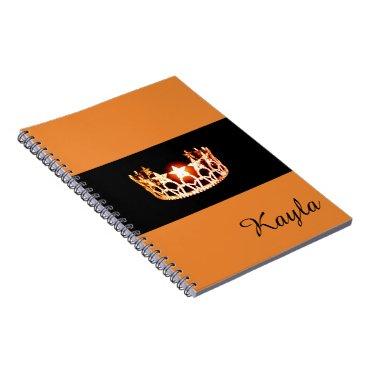 USA Themed Miss USA Orange Crown Notebook- Custom Name Notebook