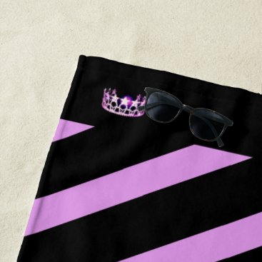 Beach Themed Miss USA Orchid Stripe Crown Beach Towel