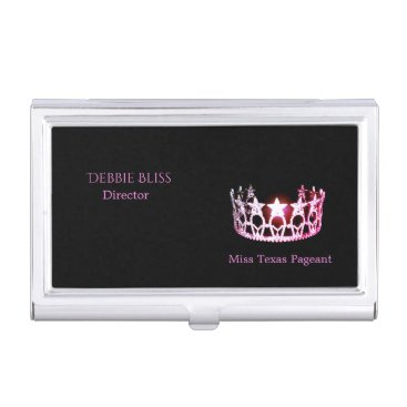 USA Themed Miss USA Pink Crown Business Card Holder