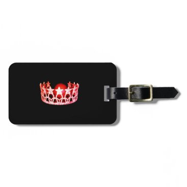 USA Themed Miss USA Red Coral Crown Luggage Tag
