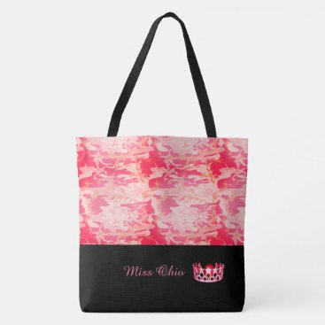 USA Themed Miss USA Red Crown Tote Bag LRGE Red Camo