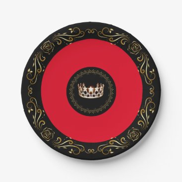 """USA Themed Miss USA Red Gold Crown 7"""" Paper Plates"""