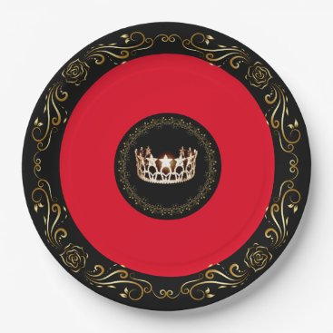 """USA Themed Miss USA Red Gold Crown 9"""" Paper Plates"""