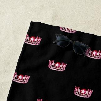 Miss USA Rose Pink Star Crown Beach Towel