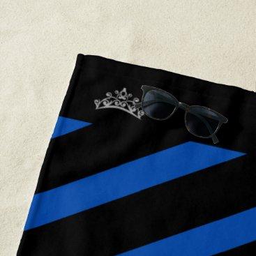 Hawaiian Themed Miss USA Royal Blue Stripe Crown Beach Towel