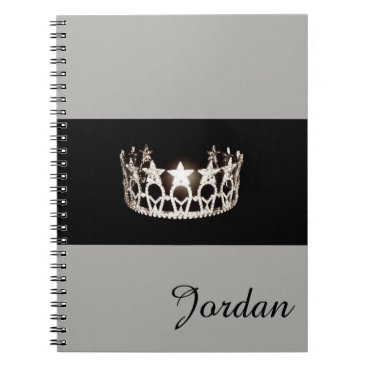 Beach Themed Miss USA Silver Crown Notebook Custom Name