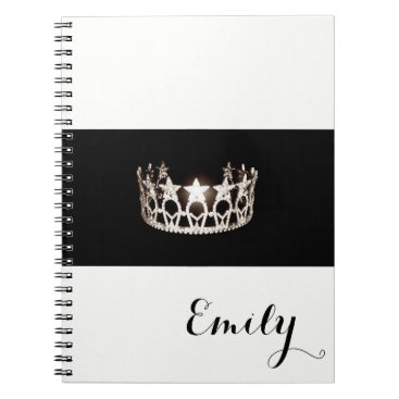 USA Themed Miss USA Silver Crown Notebook- Custom Name Spiral Notebook