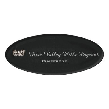 USA Themed Miss USA Silver Crown Oval Name Tag