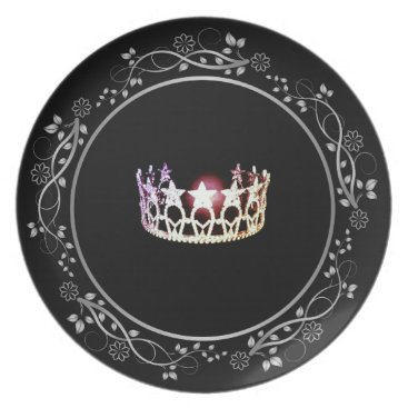 USA Themed Miss USA Silver Crown Plate with Floral Border