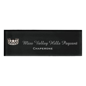 USA Themed Miss USA Silver Crown Rectangle Name Tag
