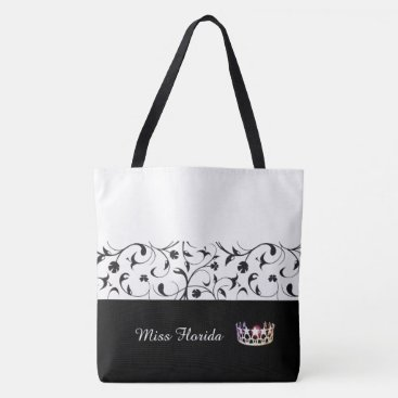 USA Themed Miss USA Silver Crown Tote Bag-BLK Scroll