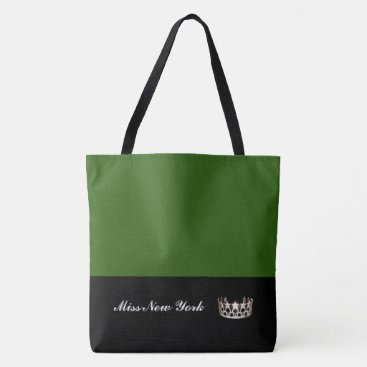 USA Themed Miss USA Silver Crown Tote Bag-Large Emerald