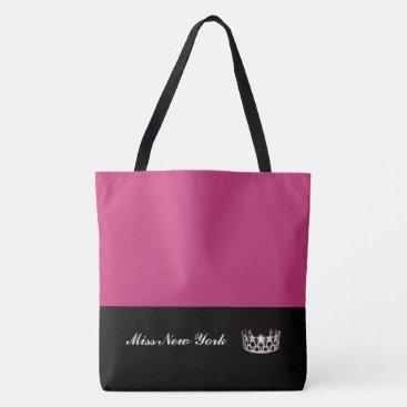 USA Themed Miss USA Silver Crown Tote Bag-Large Fuchsia