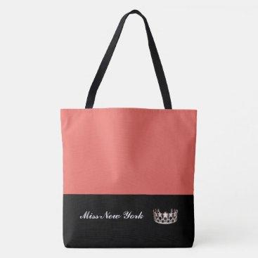 USA Themed Miss USA Silver Crown Tote Bag-Large Salmon