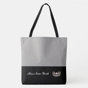 USA Themed Miss USA Silver Crown Tote Bag-Large Silver