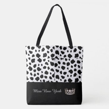USA Themed Miss USA Silver Crown Tote Bag-Large Spotted