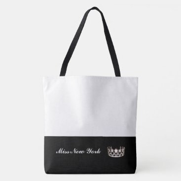 USA Themed Miss USA Silver Crown Tote Bag-Large White